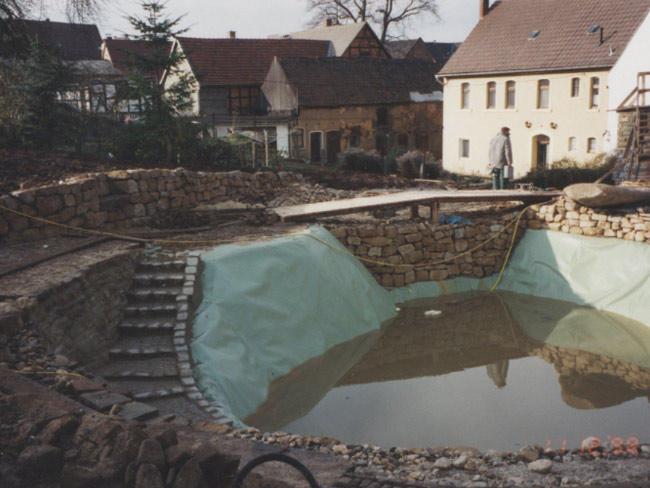 Garten in Eisenberg  Folienabdichtung eines Badeteichs